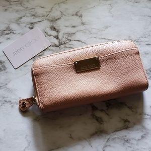 Jimmy Choo Pink Leather Zip Top Long Wallet